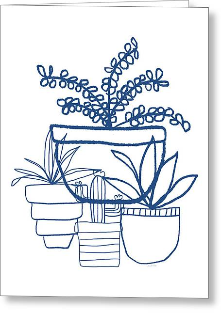 Greeting Card featuring the mixed media Indigo Potted Succulents- Art By Linda Woods by Linda Woods