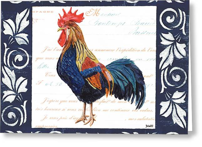 Indigo Rooster 2 Greeting Card
