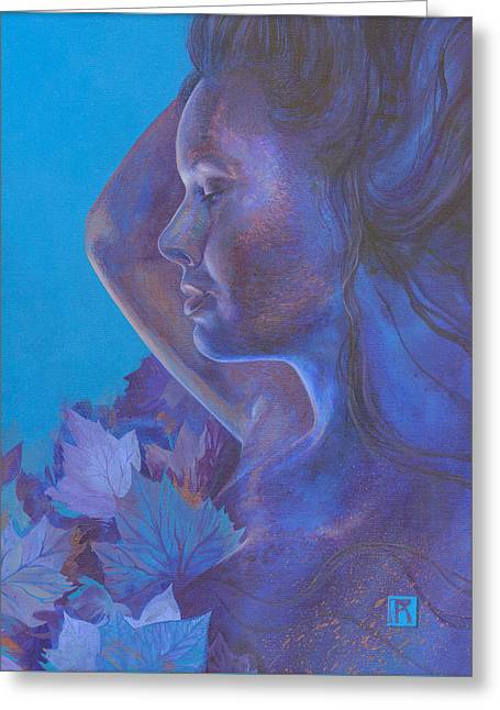 Greeting Card featuring the painting Indigo Serene by Ragen Mendenhall