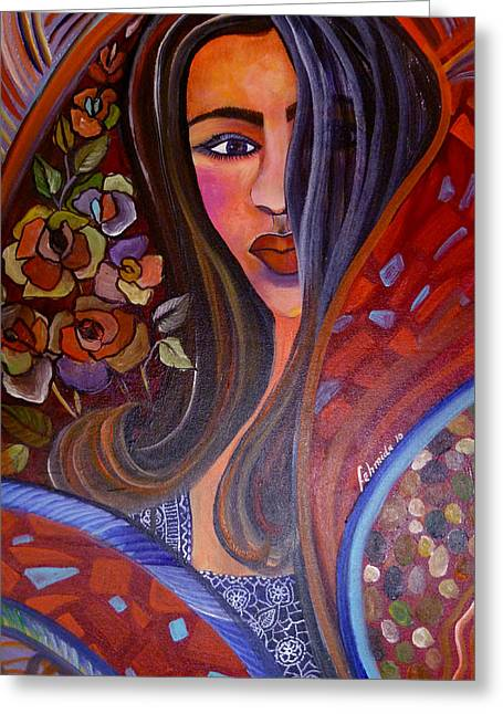 Mordern Greeting Cards - Indo chic Greeting Card by Fehmida Haider