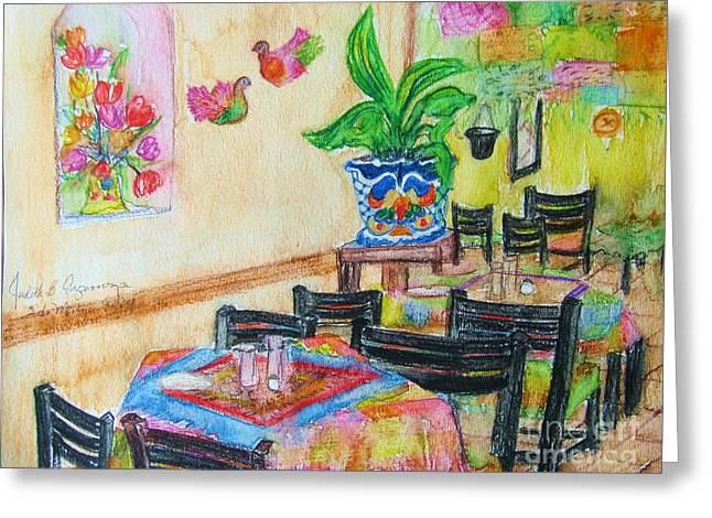 Indoor Cafe - Gifted Greeting Card by Judith Espinoza