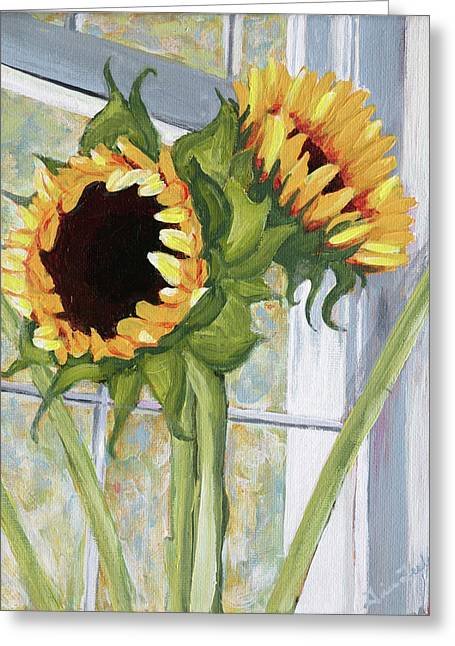 Indoor Still Life Paintings Greeting Cards - Indoor Sunflowers II Greeting Card by Trina Teele