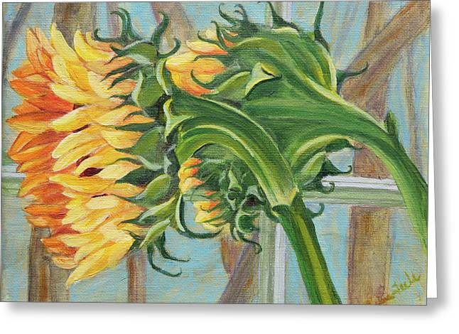 Indoor Sunflowers Greeting Card by Trina Teele