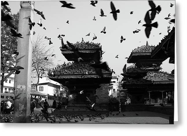 Indrapur And Vishnu Temple, Durbar Square, Kathmandu Greeting Card