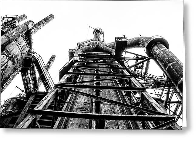 Industrial Age - Bethlehem Steel In Black And White Greeting Card by Bill Cannon
