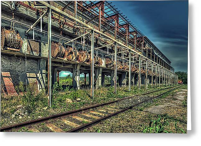Greeting Card featuring the photograph Industrial Archeology Railway Silos - Archeologia Industriale Silos Ferrovia by Enrico Pelos