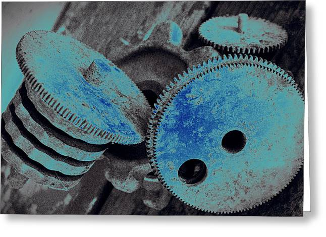 Industrial Blues Greeting Card by Marnie Patchett