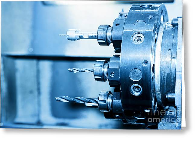 Industrial Cnc Drilling And Boring Machine Close-up Greeting Card by Michal Bednarek