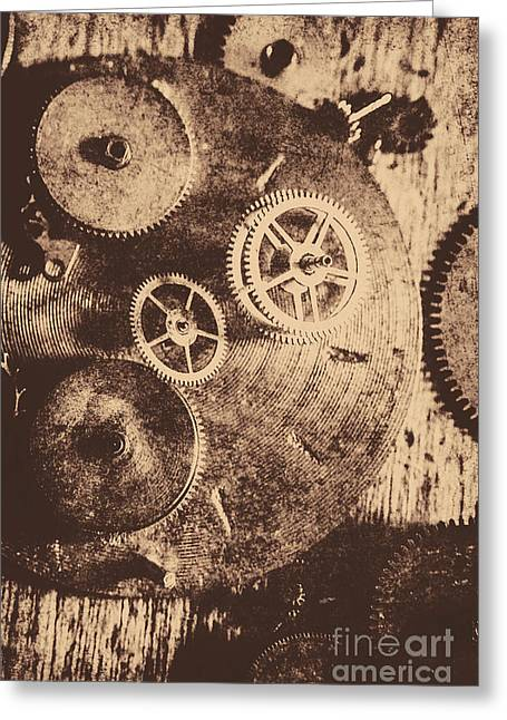 Industrial Gears Greeting Card by Jorgo Photography - Wall Art Gallery