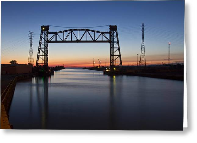 Industrial River Scene At Dawn Greeting Card by Sven Brogren