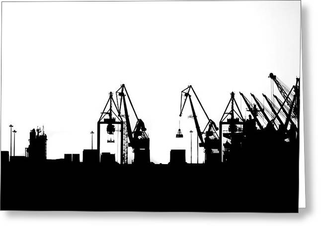 Greeting Card featuring the photograph Industrial Silhouette In Bw by Nikos Stavrakas