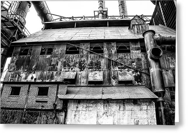 Industrial - The Steel Mill In Bethlehem Pa In Black And White Greeting Card
