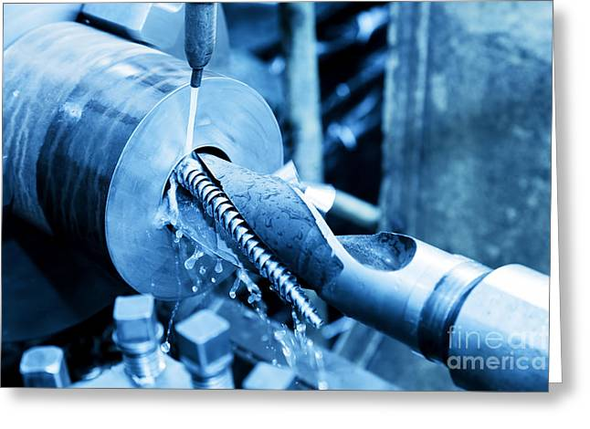 Industrial Turning And Threading Machine At Work Greeting Card by Michal Bednarek