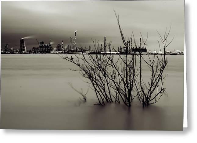 Industry On The Mississippi River, In Monochrome Greeting Card