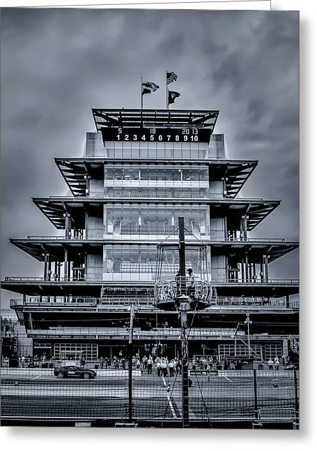 Indy 500 Pagoda - Black And White Greeting Card