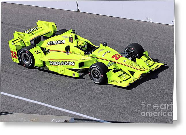 Indy Car Simon Pagenaud Greeting Card by Steve Gass
