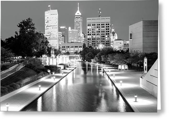 Indy City Skyline - Indianapolis Indiana Black-white 1x1 Greeting Card