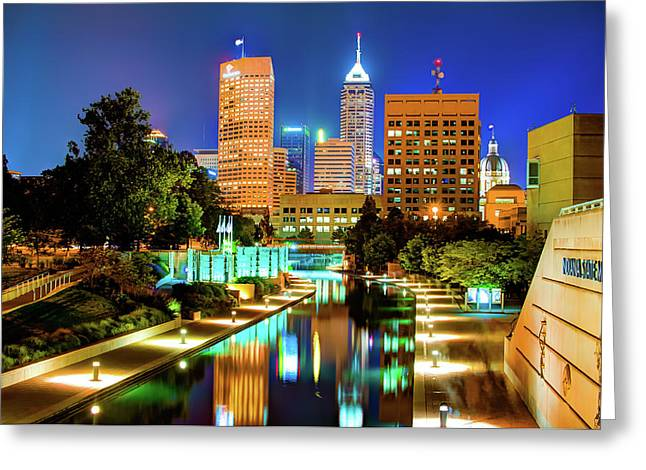 Indy Of Lights - Indianapolis Downtown Skyline Greeting Card