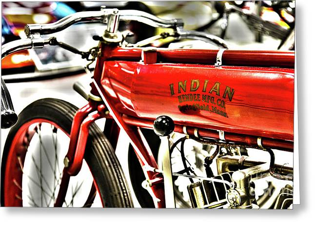 Indy Race Car Museum Indian Motorcycle Greeting Card by ELITE IMAGE photography By Chad McDermott