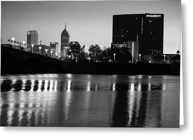 Indy Skyline Black And White Reflections - Indianapolis Indiana Greeting Card