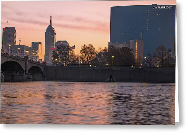 Indy Skyline On The River - Indianapolis Morning Greeting Card