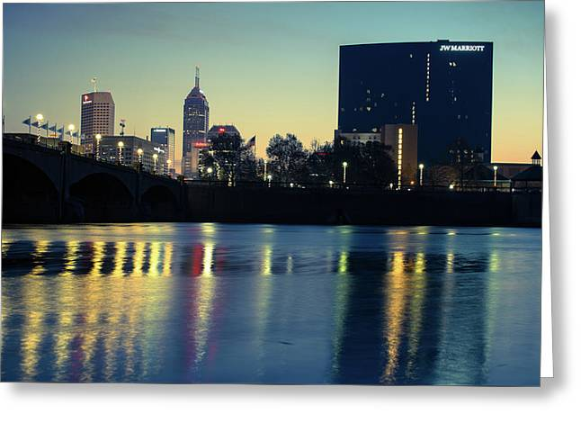 Indy Skyline Reflections - Indianapolis Indiana Greeting Card