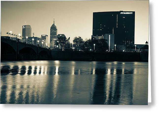 Indy Skyline Sepia Reflections - Indianapolis Indiana Greeting Card