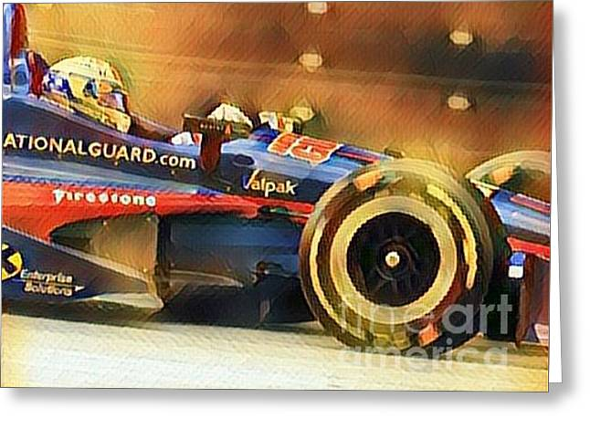Indycar Action Greeting Card