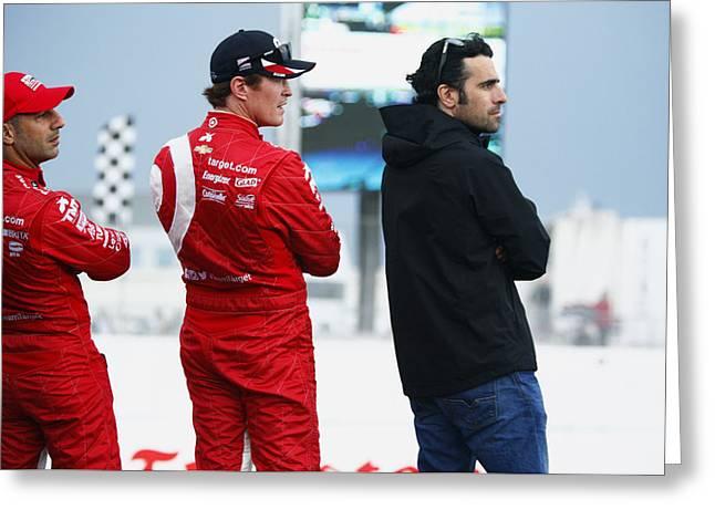 Indycar Divers Tony Kanaan Scott Dixon And Dario Franchett Greeting Card by Jeff  Young