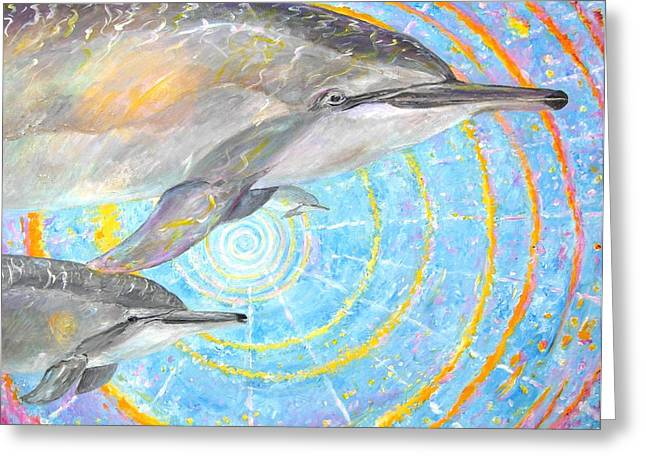 Infinite Dolphin Universe Greeting Card by Tamara Tavernier