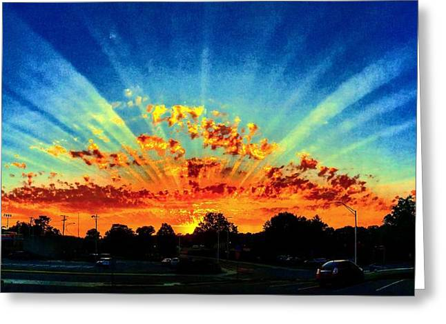 Infinite Rays From An Otherworldly Sunset Greeting Card