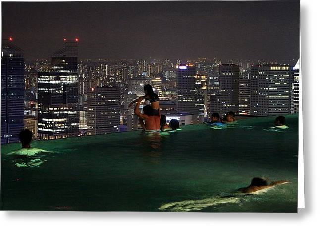 Infinity Pool At Marina Bay Sands Hotel Greeting Card by Diane Height