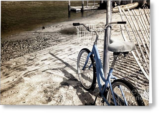 Infrared Bike On The Beach Greeting Card