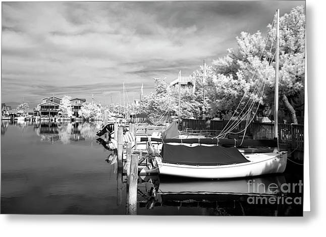 Infrared Boats At Lbi Bw Greeting Card by John Rizzuto