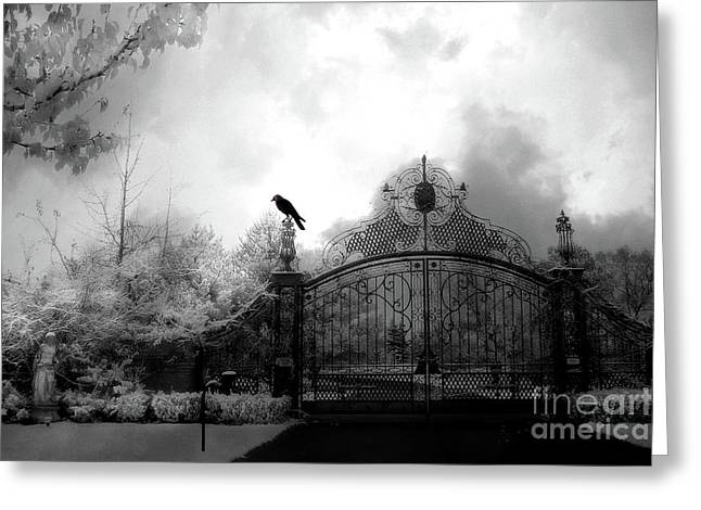 Greeting Card featuring the photograph Infrared Gothic Raven On Gate Black And White Infrared Print - Solitude - Gothic Raven Infrared Art  by Kathy Fornal