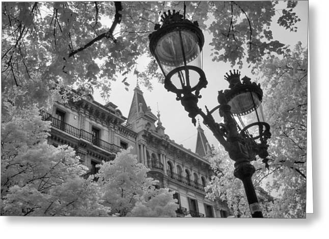 Infrared Street Light Black And White Barcelona Spain Greeting Card by Jane Linders
