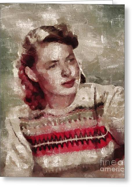 Ingrid Bergman, Actress Greeting Card by Mary Bassett