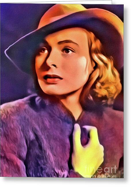 Ingrid Bergman, Vintage Actress. Digital Art By Mb Greeting Card by Mary Bassett