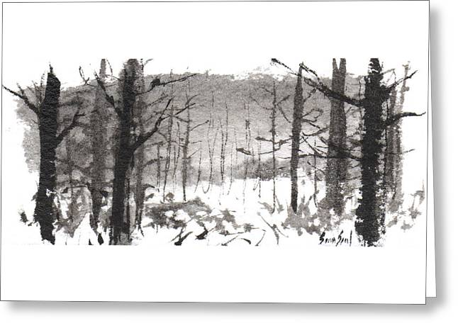 Greeting Card featuring the painting Ink Landscape 1 by Sean Seal
