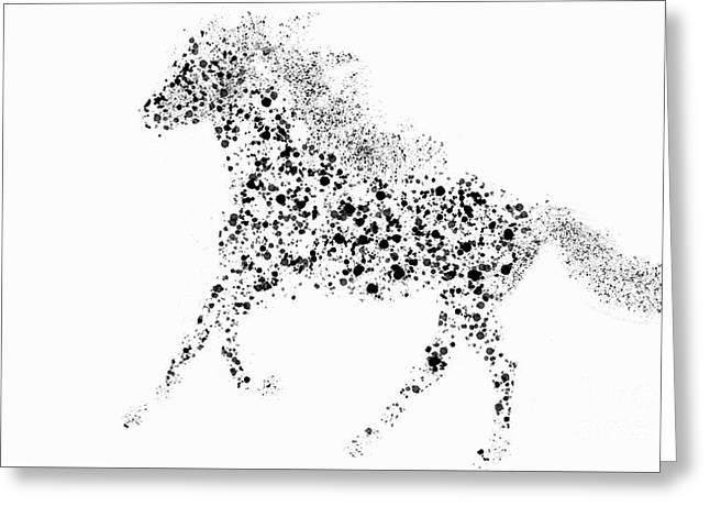 Greeting Card featuring the drawing Ink Splattered Stallion by Nick Gustafson