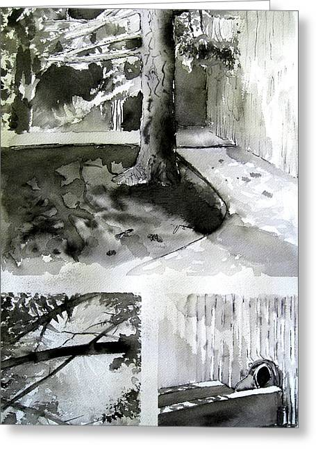 Ink Wash Under A Tree Greeting Card