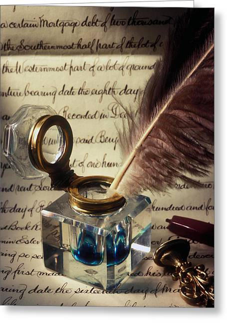 Ink Well Greeting Cards - Ink well and old document Greeting Card by Garry Gay