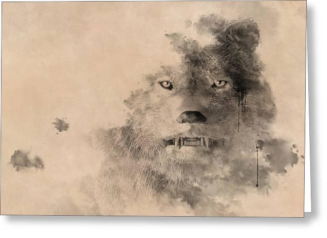 Ink Wolf Greeting Card by Daniel Eskridge