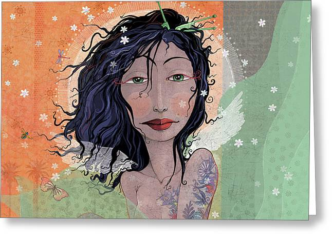 Inked Angel  Greeting Card by Dennis Wunsch