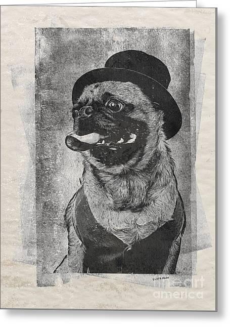 Inky Pug Greeting Card by Edward Fielding