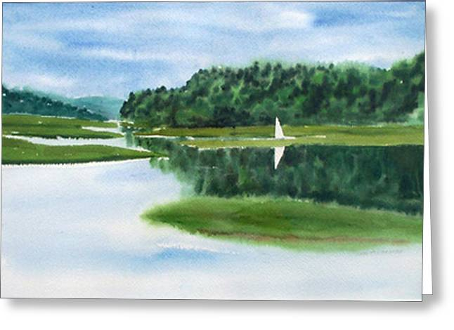 Inland Harbor Greeting Card by Anne Trotter Hodge