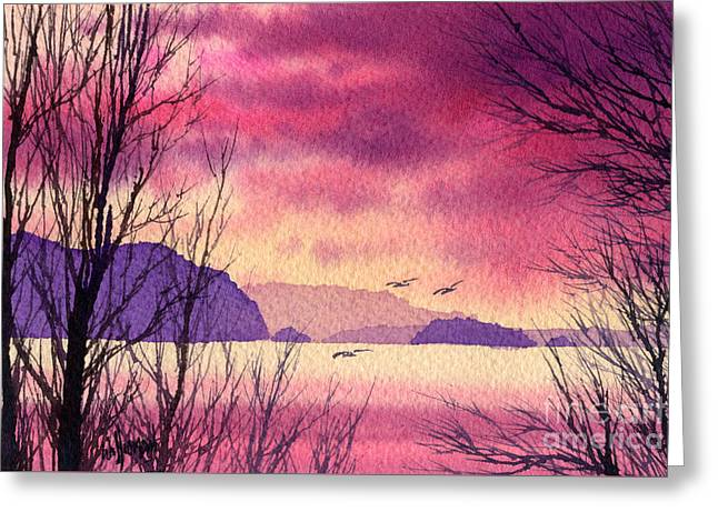 Greeting Card featuring the painting Inland Sea Islands by James Williamson