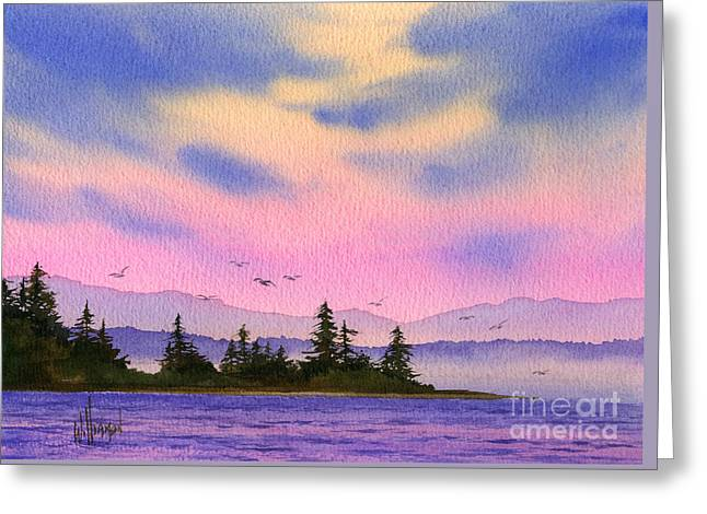 Greeting Card featuring the painting Inland Sea Sunset by James Williamson