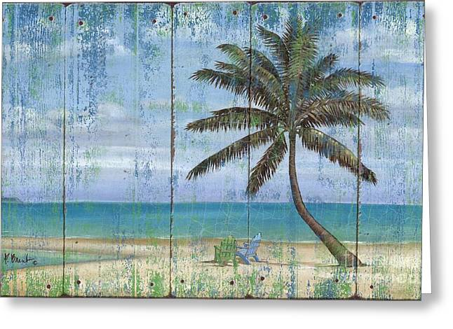 Inlet Palm - Distressed Greeting Card by Paul Brent