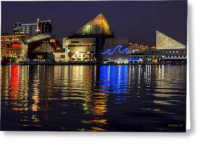 Inner Harbor After Dark Greeting Card by Brian Wallace
